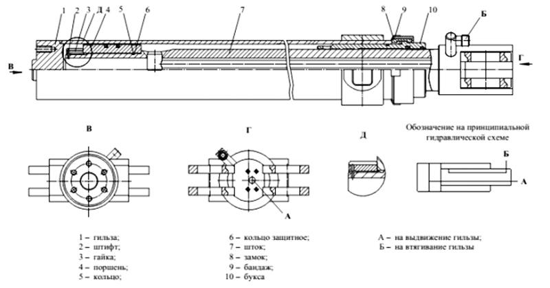 Гидроцилиндр выдвижения стрелы