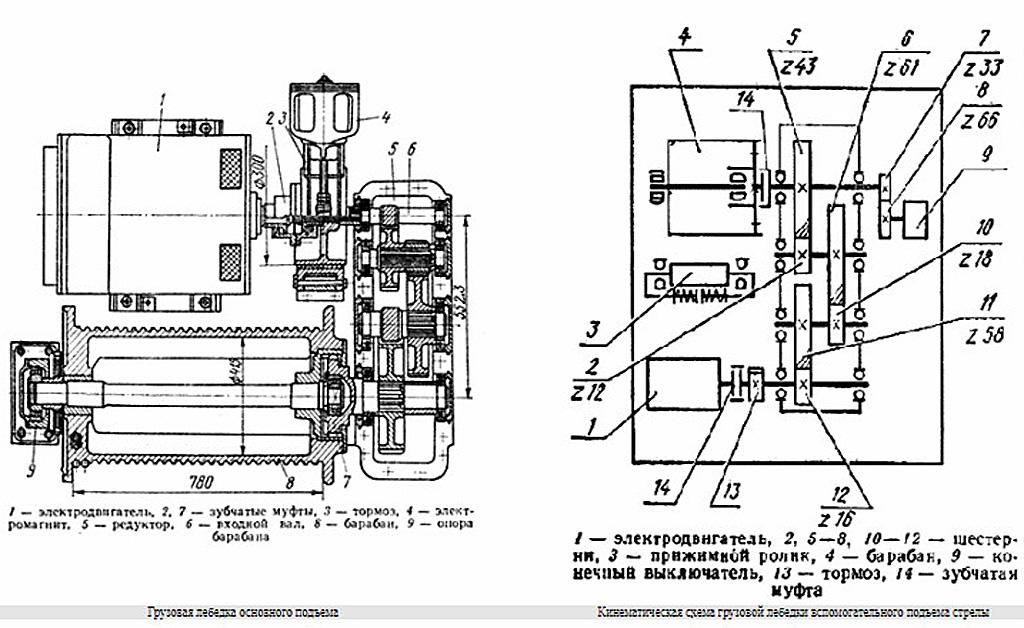 Грузовая лебедка крана КС-5363