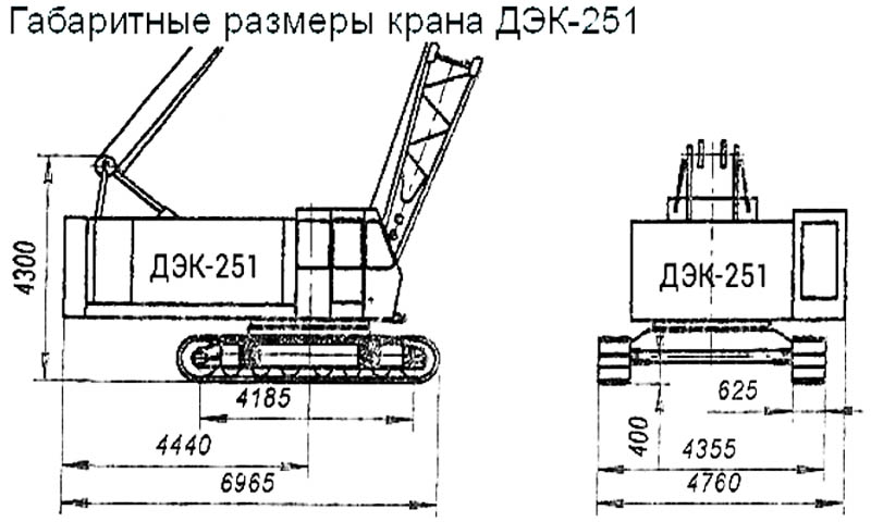 Размеры ДЭК-251