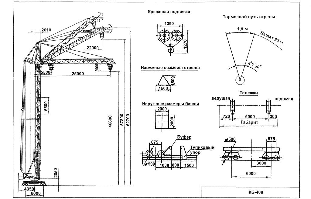Размеры башенного крана КБ-408